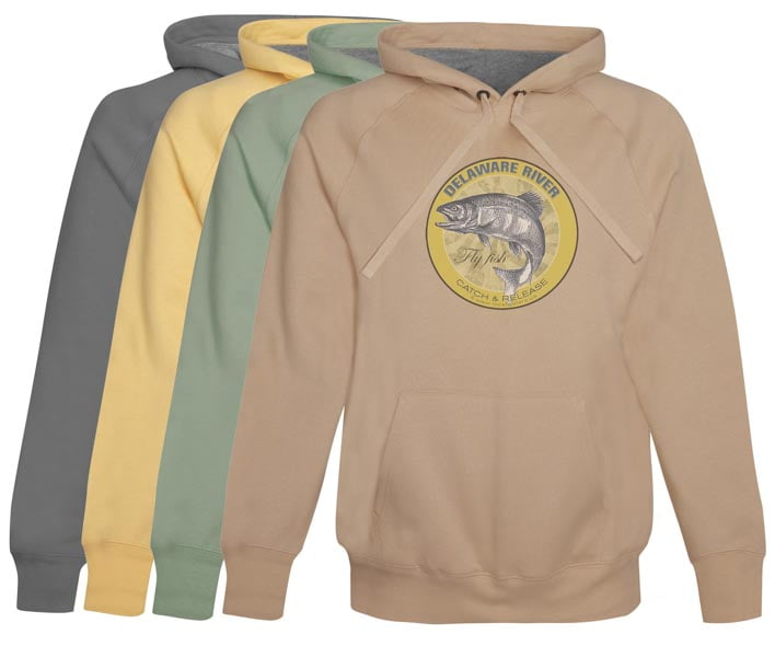 Delaware River Fly Fishing Hoodie Fleece Catch & Release Clothing Vintage Khaki pull over style gifts for anglers fishermen