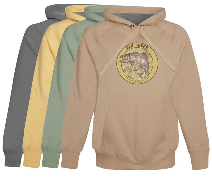 Elk River Fly Fishing Hoodie Fleece Catch & Release Vintage Khaki Clothing Pull Over anglers apparel gifts