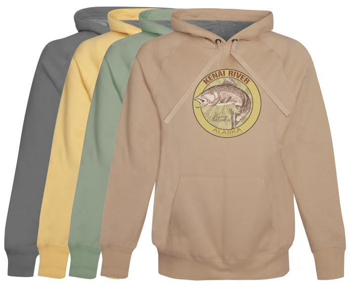 Kenai River King Salmon Fishing Hoodie Fleece Alaska