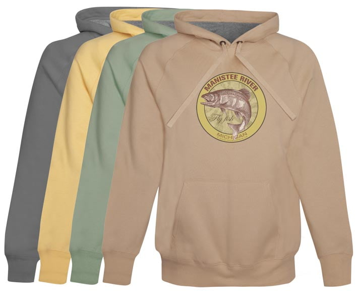 Manistee River Fly Fishing Hoodie Fleece Michigan