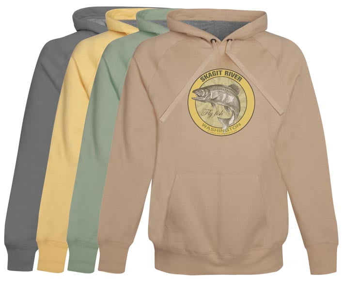 Skagit River Fly Fish Hoodie Fleece Washington
