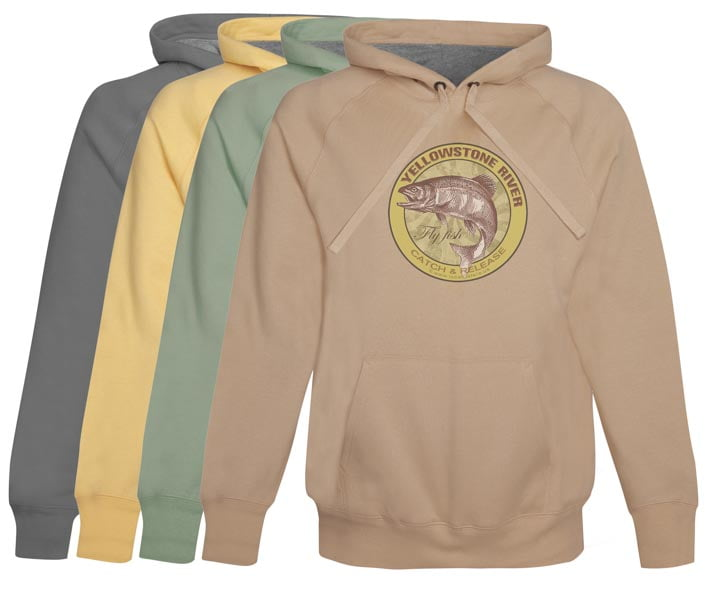 Yellowstone River Fly Fishing Hoodie Fleece Catch and Release Montana