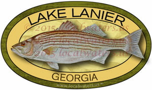 Lake Lanier Sticker Striped Bass Fishing Decal