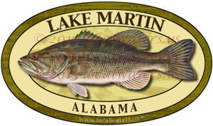 Lake Martin Sticker Largemouth Bass Alabama Decal
