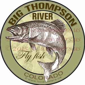 Big Thompson River Sticker Fly Fishing Decal Colorado Trout Fish Emblem Logo Design