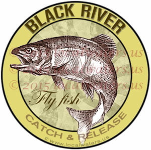 Black River Sticker Fly Fishing Decal Catch and Release Trout Fish