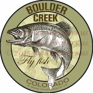 Boulder Creek Sticker Fly Fishing Decal Colorado Trout Fish Jumping Emblem design logo