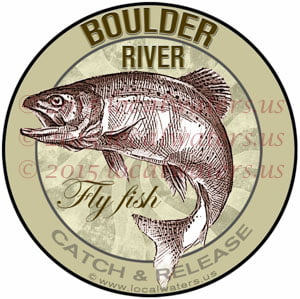 Boulder River Sticker Fly Fishing Decal Catch and Release Trout Fish Jumping