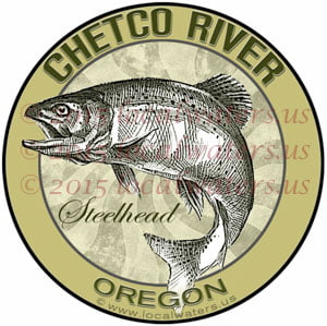 Chetco River Sticker Steelhead Fishing Decal Oregon fish jumping logo emblem design