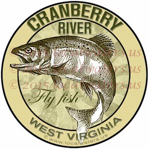 Cranberry River Sticker Fly Fishing Decal West Virginia Trout Fish Jumping Logo Emblem Design