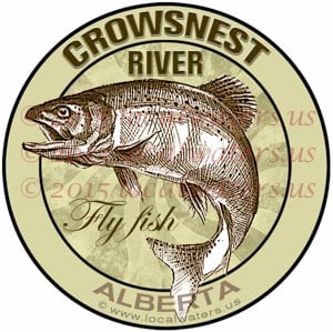 Crowsnest River Sticker Fly Fishing Decal Alberta Canada Trout Fish