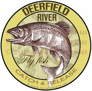 Deerfield River Sticker Fly Fishing Decal Catch Release Trout Fish Jumping Vermont Massachusetts