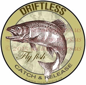 Driftless Sticker Fly Fishing Decal Catch Release Wisconsin Trout Fish Jumping Logo Minnesota Iowa Driftless Region