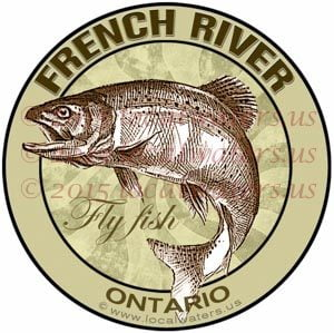 French River Sticker Fly Fishing Decal Ontario Canada Trout Fish Salmon Logo Emblem Design