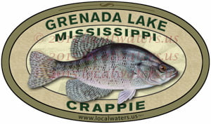 Grenada Lake Crappie Fishing Sticker Mississippi Decal