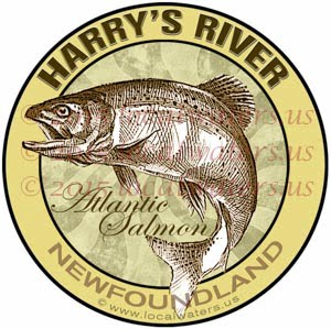 Harry's River Sticker Atlantic Salmon Fishing Decal Newfoundland Canada
