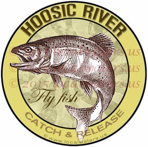 Hoosic River Sticker Fly Fishing Decal Catch and Release Trout Fish Jumping Logo Vermont Massachusetts New York