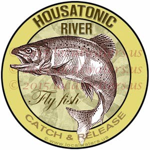 Housatonic River Sticker Fly Fishing Decal Catch Release Trout Fish Jumping Logo