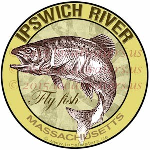 Ipswich River Sticker Fly Fishing Decal Massachusetts Trout Fish Jumping Logo