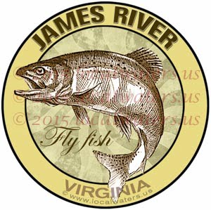 James River Sticker Fly Fishing Decal Virginia Trout Fish