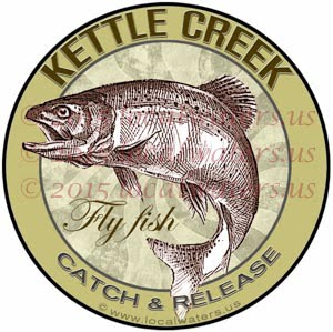 Kettle Creek Sticker Fly Fishing Decal Catch Release Trout Fish Jumping Logo Emblem Design
