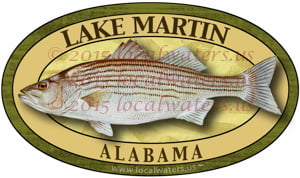 Lake Martin Striped Bass Sticker Fishing Decal Alabama