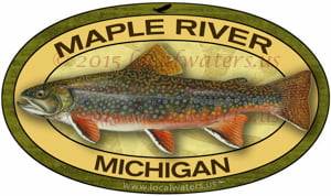 Maple River Decal Brook Trout Sticker Fly Fishing Michigan