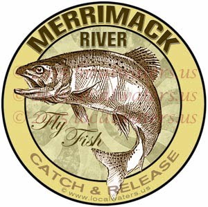 Merrimack River Sticker Fly Fishing Decal Catch Release Trout Fish Jumping Logo New Hampshire Massachusetts