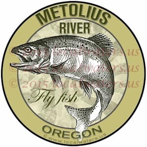 Metolius River Sticker Fly Fishing Decal Oregon Trout Fishing emblem logo design