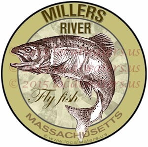 Millers River Sticker Fly Fishing Decal Massachusetts Trout Fish Jumping Logo Emblem Design Miller's