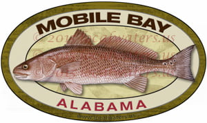 Mobile Bay Redfish Sticker Fishing Decal Alabama