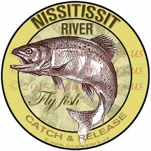Nissitissit River Sticker Fly Fishing Decal Catch Release Trout Fish Jumping Logo New Hampshire Massachusetts
