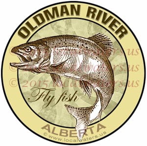 Oldman River Sticker Fly Fishing Decal Alberta Canada Trout Fish emblem logo design