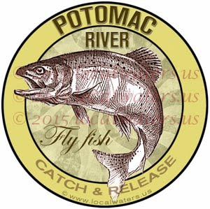 Potomac River Sticker Fly Fishing Decal Catch Release Trout Fish Jumping Logo West Virginia Maryland Virginia