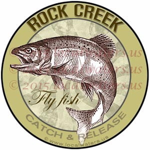 Rock Creek Fly Fishing Decal Catch Release Trout Fish Jumping Logo