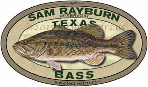 Sam Rayburn Reservoir Bass Sticker Fishing Decal Texas