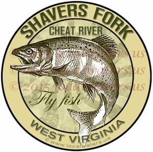 Shavers Fork Cheat River Sticker Fly Fishing West Virginia Trout Fish Jumping Emblem Logo Design