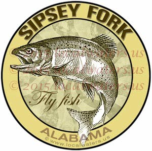 Sipsey Fork Sticker Fly Fishing Decal Alabama Trout Fish Jumping logo Emblem design