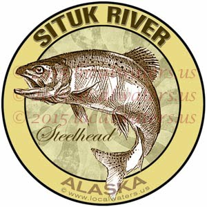 Situk River Sticker Steelhead Fishing Decal Alaska Trout Jumping Fly Fish Emblem Logo Design