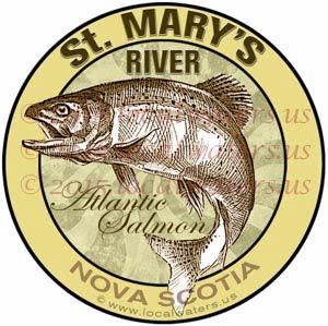 St. Mary's River Sticker Atlantic Salmon Fishing Decal Nova Scotia Canada Saint Marys Saint Mary's St marys