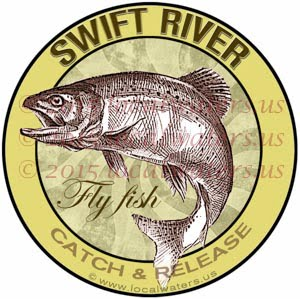 Swift River Sticker Fly Fishing Decal Catch Release Trout Fish Jumping Logo