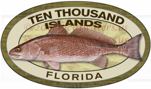 Ten Thousand Islands Fishing Sticker Florida Decal Redfish