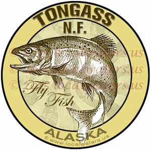 Tongass National Forest Sticker Fly Fishing Alaska Steelhead Jumping Salmon Logo Emblem Design