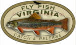 Fly Fishing Virginia Sticker Catch and Release Decal Brook Trout