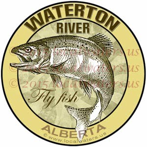 Waterton River Sticker Fly Fishing Decal Alberta Canada Trout Fish Emblem Logo Design