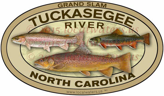 Tuckasegee River Grand Slam Sticker Brook Rainbow Brown Trout decal North Carolina