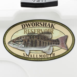 Dworshak Reservoir smallmouth bass sticker decal Idaho fishing logo badge