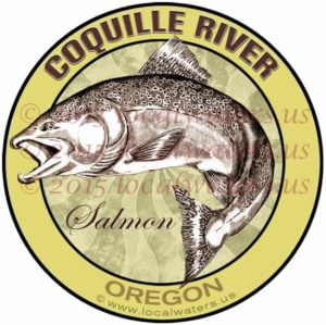 Coquille River Oregon Salmon Fishing Decal Fish Sticker Logo