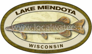 Lake Mendota Northern Pike Fishing Wisconsin Sticker Fishing Decal Logo
