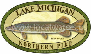 Lake Michigan Northern Pike Sticker Fishing Decal logo